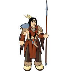 Tribal warrior with spear vector