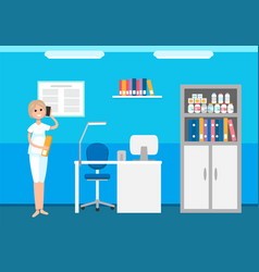 Veterinary hospital woman receptionist talking vector