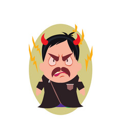 Villain devil frowning avatar of little person vector