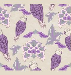 vintage damask pattern parrot old 30s vector image