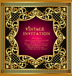vintage invitation frame with gold ornament vector image
