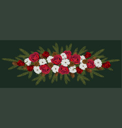 Winter bouquet of scarlet roses with lush cotton vector