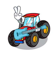 With guitar tractor mascot cartoon style vector