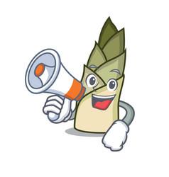 With megaphone bamboo shoot character cartoon vector