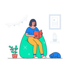 woman reading - modern flat design style vector image