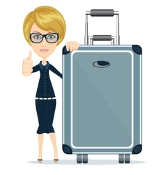 woman with big suitcase vector image