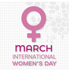 womens day typogrpahic card with pattern vector image