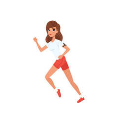 Young woman running people activity daily vector