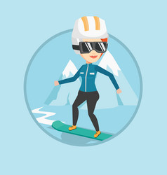 young woman snowboarding vector image