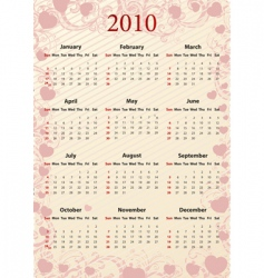 American pink calendar with hearts vector image vector image