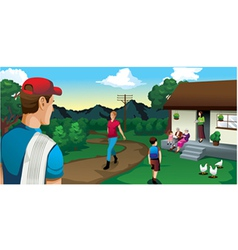 family house in the country coffee outdoor field vector image