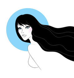 woman black hair vector image vector image