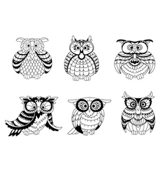 Black and white owls outline silhouettes vector image