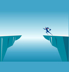 businessman jump through the gap obstacles vector image