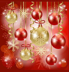 christmas background with baubles in red vector image