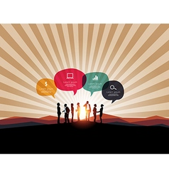 Infographic with business meeting on mountain back vector image