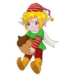 christmas cartoon elf boy vector image vector image
