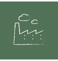 Factory icon drawn in chalk vector image