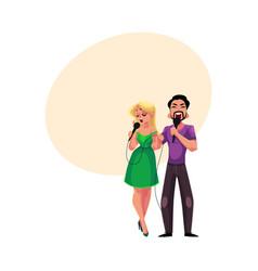 man and woman singing into microphones karaoke vector image vector image