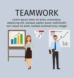teamwork infographic with business people vector image vector image