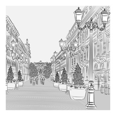 avenue with vintage buildings vector image