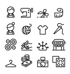 Fashion design tailor dressmaker sewing icons vector