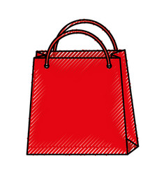 scribble shopping bag cartoon vector image