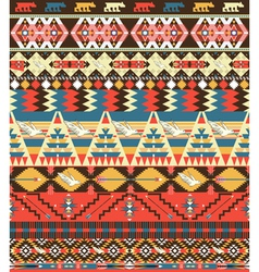 Seamless colorful aztec pattern with birds flower vector image vector image