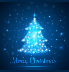 shining christmas tree on blue background with vector image