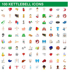 100 kettlebell icons set cartoon style vector