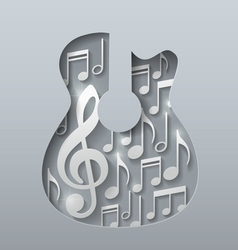 Abstract Music Guitar with Notes White Background vector image