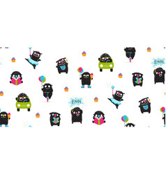active monsters for kids print pattern design vector image