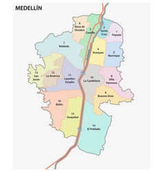administrative and political map medellin vector image