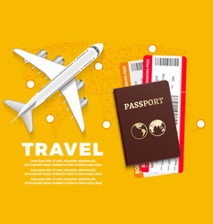 Air travel banner with plane world map and vector