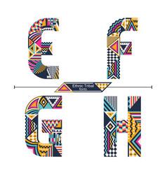 Alphabet ethnic tribal style in a set efgh vector