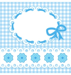 baby card with blue stripes and flowers vector image