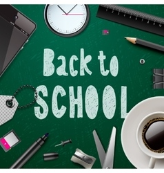 Back to school template with office supplies vector
