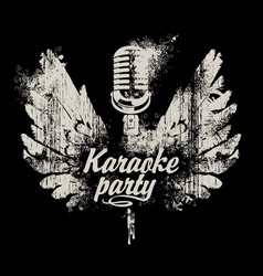 Banner karaoke party with a microphone and wings vector