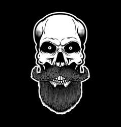Bearded skull on dark background design element vector