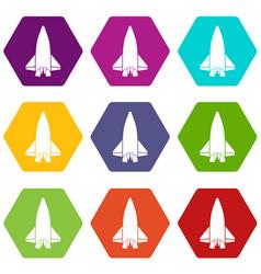 big plane icons set 9 vector image