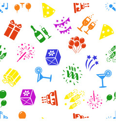 Birthday and celebration icons seamless background vector