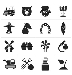 Black Agriculture and farming icons vector image