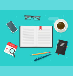 book or notebook diary open on learning desk table vector image