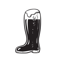 boot beer glass hand drawn on vector image