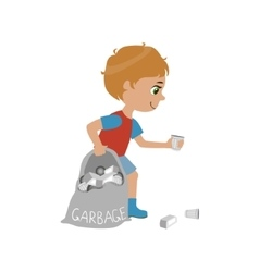 Boy Collecting Garbage vector image