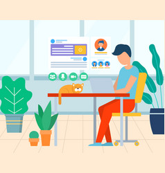 business workplace with computer and cat vector image