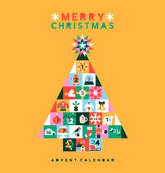Christmas folk pine tree icon advent calendar vector