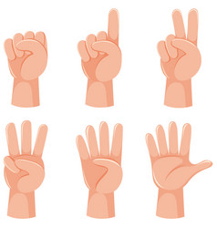 Counting numbers with hand gesture vector
