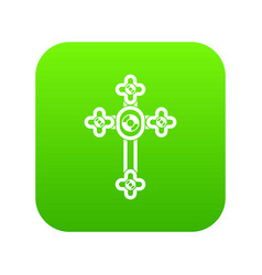 cross with diamonds icon digital green vector image