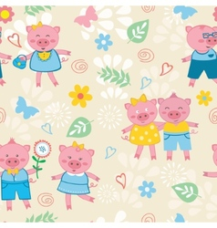 Cute pigs pattern vector